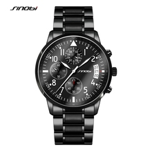 SINOBI Sports Chronograph Men's Pilots Wrist Watches Black Steel Watchband Luxury Brand Males Quartz Clock Boy Wristwatch G06