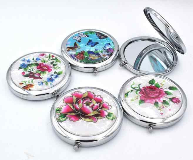 1pcs Mini Makeup Compact Pocket Mirror Flower Butterfly Metal Portable Two-side Folding Makeup Mirror Vintage Cosmetic Mirrors