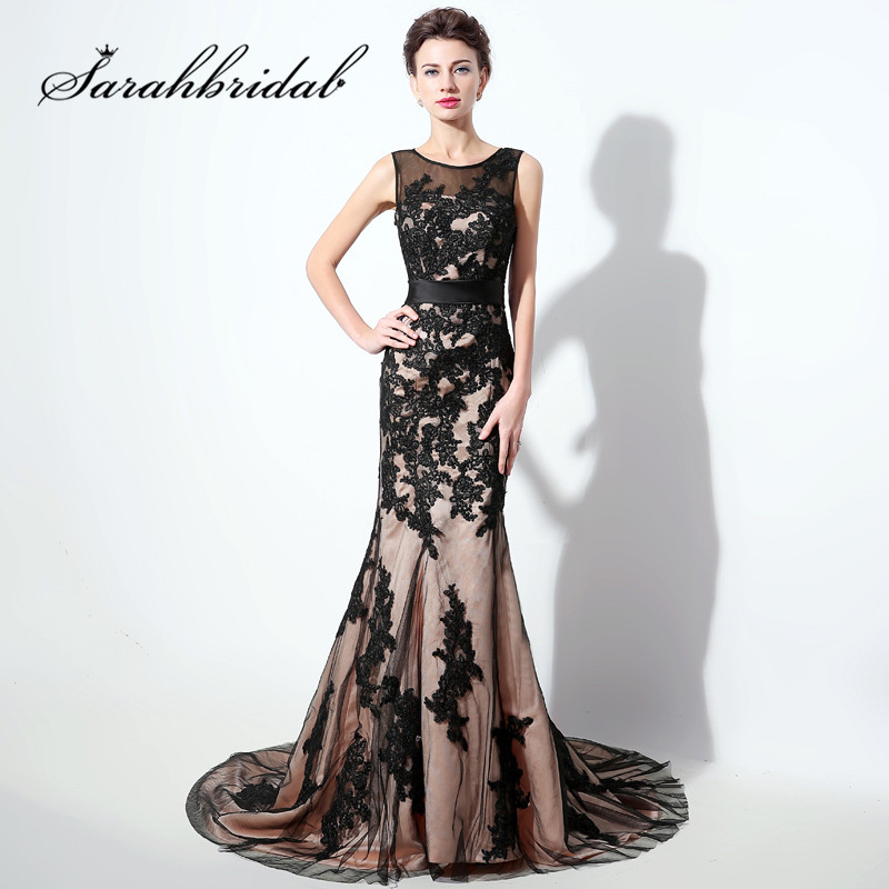 Black Lace Formal Evening Dresses Elegant Sheer Neck Mermaid Long Party Prom Gowns Keyhole Back Sweep