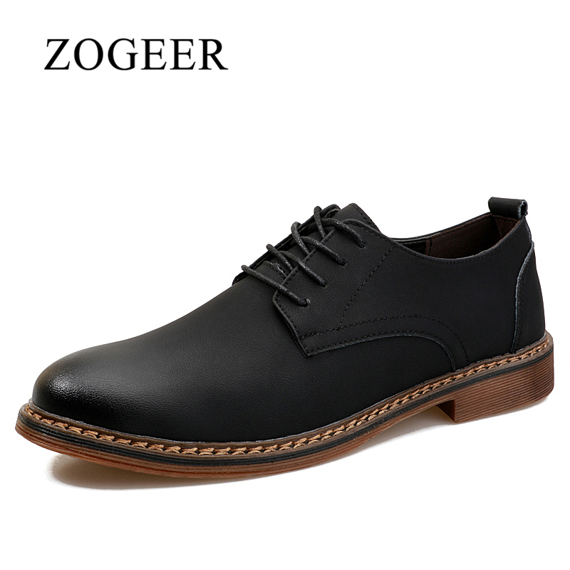 ZOGEER Hot Leather Shoes Men, Business Formal Mens Shoes Lace Up, Luxury Brand Italian Shoes Man hot sale luxury brand men classic oxfords italian mens leather dress shoes new men formal shoes black white patch flowers 39 46