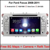 2G+32G Android 6.0 Octa Core 2 Din Car DVD Player GPS For FORD Mondeo S MAX Connect FOCUS 2 2008 2009 2010 2011 support DVR DAB
