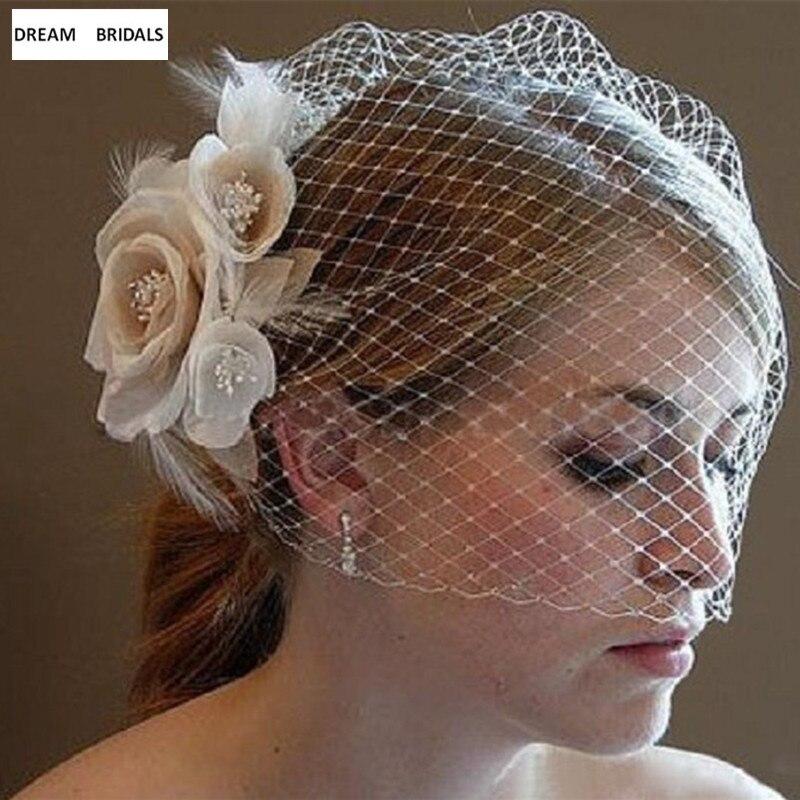 2018 Best Selling Women Headwear Cheap Blusher Birdcage Ivory Champagne Flowers Feather Women Wedding Veil Accessories In Stock