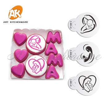 3pc Mom Love Baby Cookie Cake Stencil Set Cupcake Decoration for Decorating Tools Fondant ST-818