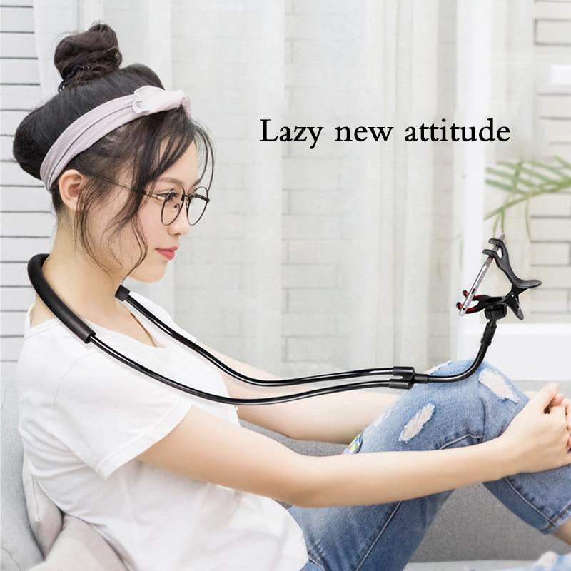 Flexible Mobile Phone Holder Hanging Neck Lazy Necklace Bracket Bed 360 Degree Smartphone Holder Stand Universal