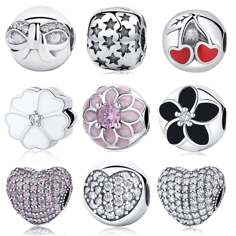Authentic 925 Sterling Silver Sparkling Leaves Zirconia Clip Charms Stopper Safety Fit Original Pandora Bracelets DIY Jewelry