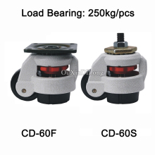 HOT 50PCS CD-60F/S Heavy Duty Level Adjustment Nylon Wheel Industrial Casters Machine Equipment Wheels Bearing 250KG/PCS