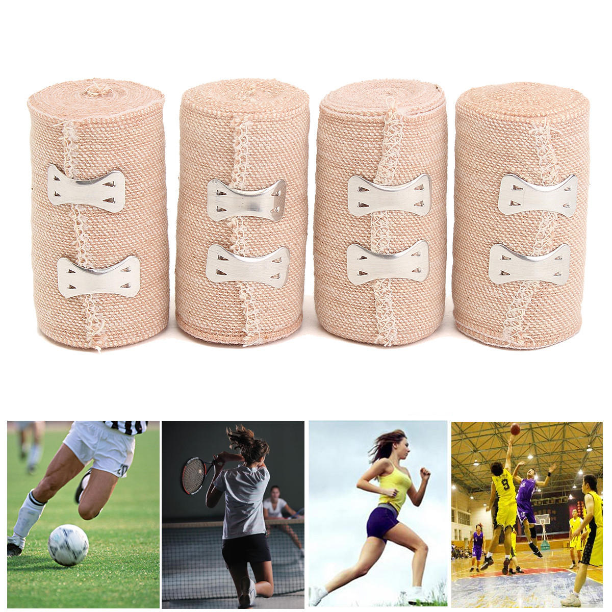 4 Rolls 15ft Crepe Bandage Hook Closure Rubber Elastic Bandages 5 Yds 4.5M First Aid Emergency Kits Treatment