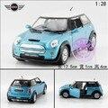 Hot sale 1pc 1:28 12.5cm KINSMART delicate blue MINI cooper S simulation model alloy car pull back home decoration gift toy