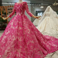 LS124744 cheap color mother of the bride dresses sleeves o neck long train lace flowers shiny women occasion dress high quality