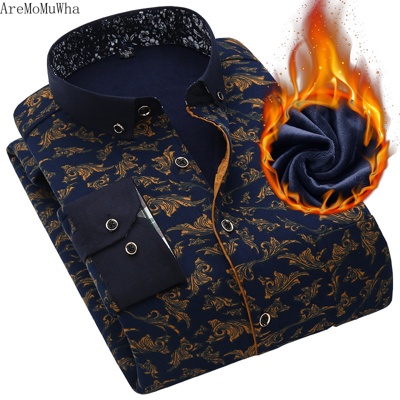 AreMoMuWha 2018 Winter New Men's Warm Shirt Plus Velvet Thick Solid Color Long-sleeved Printed Plaid Casual Mens Shirts  QX186