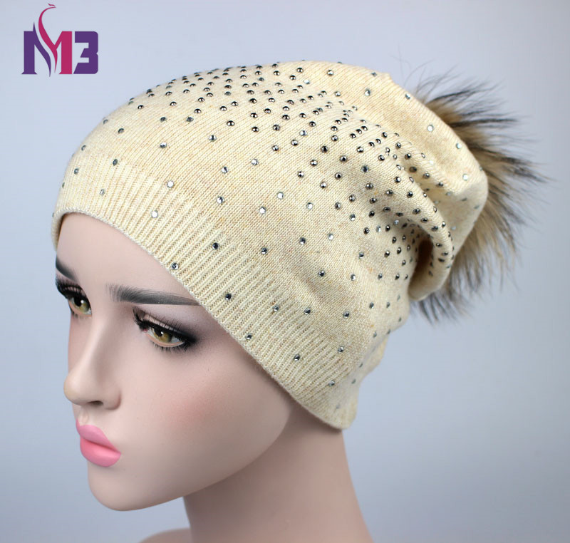 New Women Beanies Real Mink Fur Pom Poms Ball Cap Warm Beanies Skullies Rhinestone Shiny Girl Winter Hat