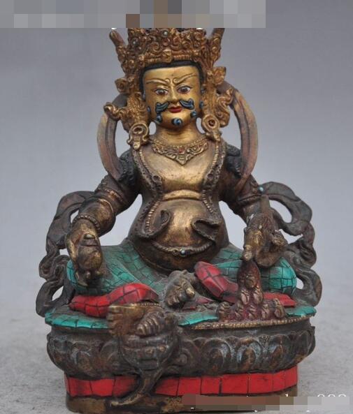S01328 Tibet Buddhism Bronze copper gilt Yellow Jambhala Wealth God Buddha Mouse Statue (B0328)|statues gods|statue bronze|statue tibet - title=