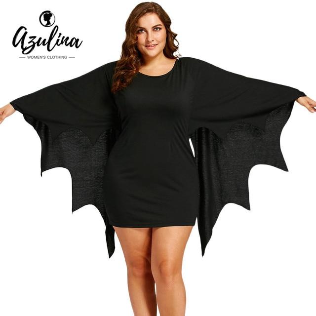 acc99a7f1a076 AZULINA Plus Size Halloween Party Dress Women Bat Wings Dress Mini Dresses  Vestido Autumn Casual Dresses Female Robe Femme 2018