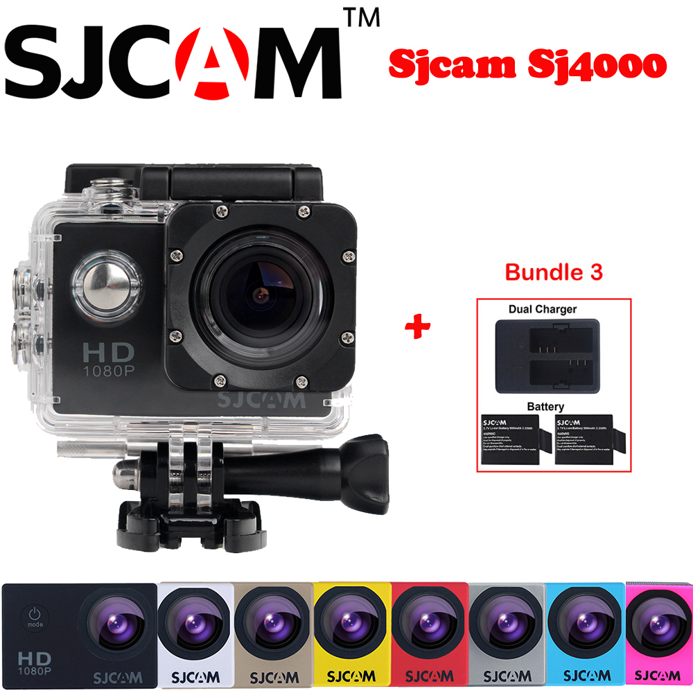 Original Sjcam SJ4000 2'' Screen 30M Waterproof Mini Outdoor Sports Action Camera Sj 4000 Cam DVR+Extra 2 Battery+Dual Charger original sjcam m20 wifi 4k 24fps 30m waterproof sports action camera sj cam dvr 2 extra battery dual charger remote monopod