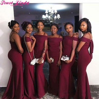 Elegant Boat Neck Burgundy Mermaid Bridesmaid Dresses 2018 Cheap Satin Maid of Honor Gowns Wedding Guests Party Wear Plus size
