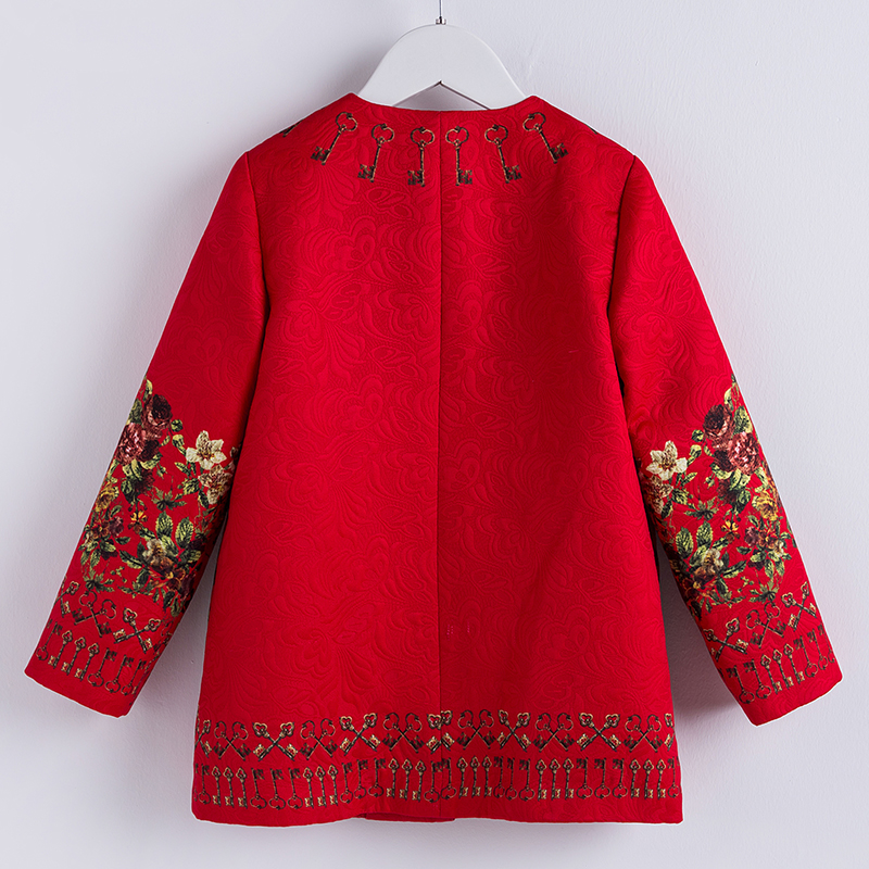 Image 2 - Beenira Baby Girl Outerwear Clothes 2019 European And American Style Children Winter Red Floral Coat Full Sleeve Autumn Clothes-in Jackets & Coats from Mother & Kids