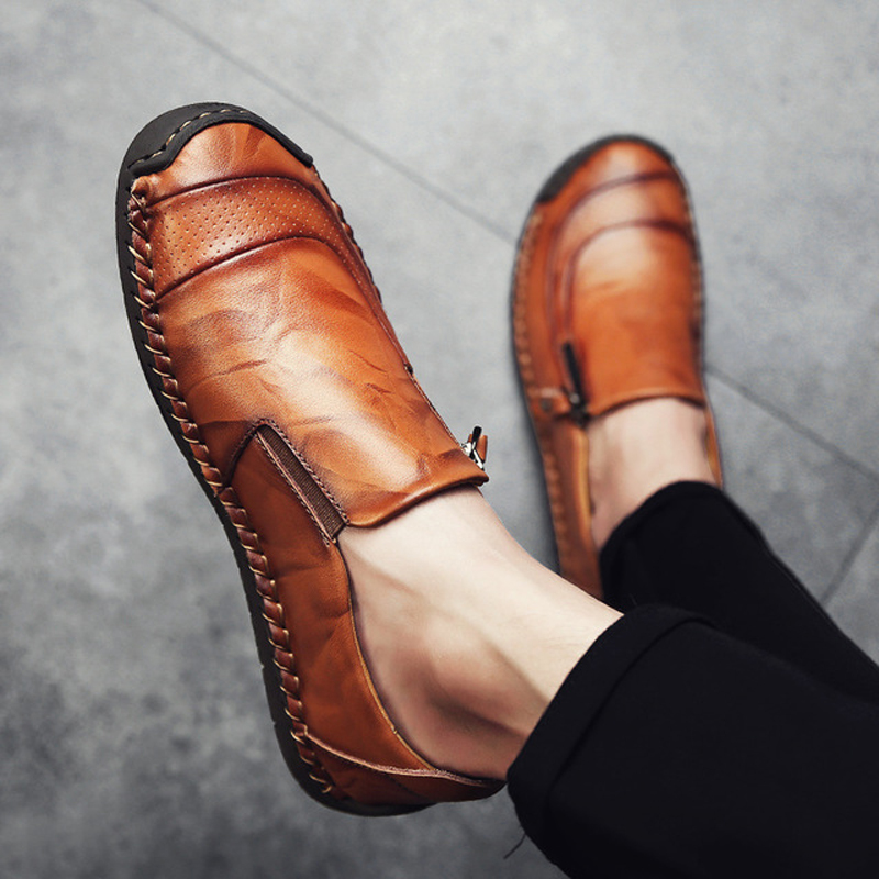Hot Sale Big Size 47 48 Leather Casual Shoes Men Summer Hand Made Mans Footwear Comfortable Light Peas Shoes Sneakers For Men
