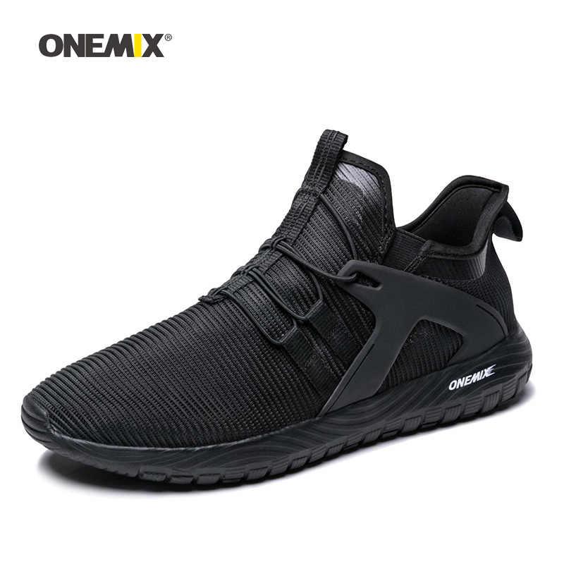 Onemix الرجال احذية الجري للنساء المتسكعون شبكة سوداء الهواء تنفس مصمم الركض أحذية رياضية في الهواء الطلق رياضة المشي المدربين