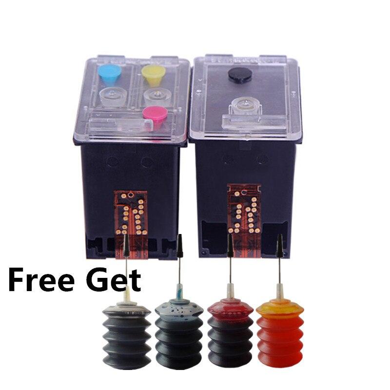 Cartouche d'encre rechargeable CC654AN CC656AN remplacement pour imprimantes HP 901 XL Officejet J4500, 4540,4550