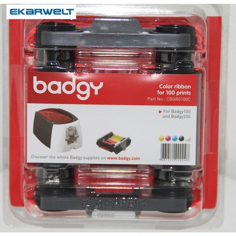 Original Evolis Badgy ID Card Printer ribbon CBGR0100C YMCKO Color Ribbon 100 prints for Evolis Badgy100 & Badgy200 magicard lc1 color ribbon for use magicard rio 2 id card printer m9005 751 ribbon
