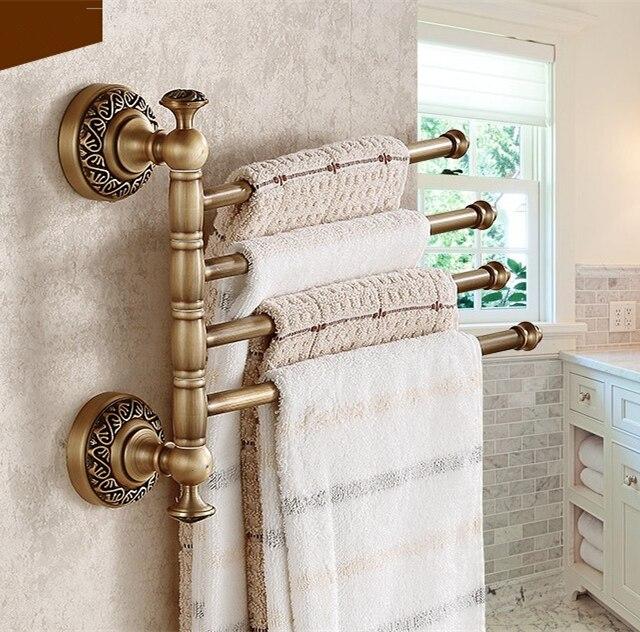 Carving Flower Design Rotation Towel Rack 4 Bar Activities Towel Bar&Towel Rack/Bathroom Accessories Folding towel bar towel bar k37355afd
