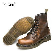 YIGER New men martins boots Genuine Leather Winter with fur Men Lace-up Tooling Mens desert Couple black 0231