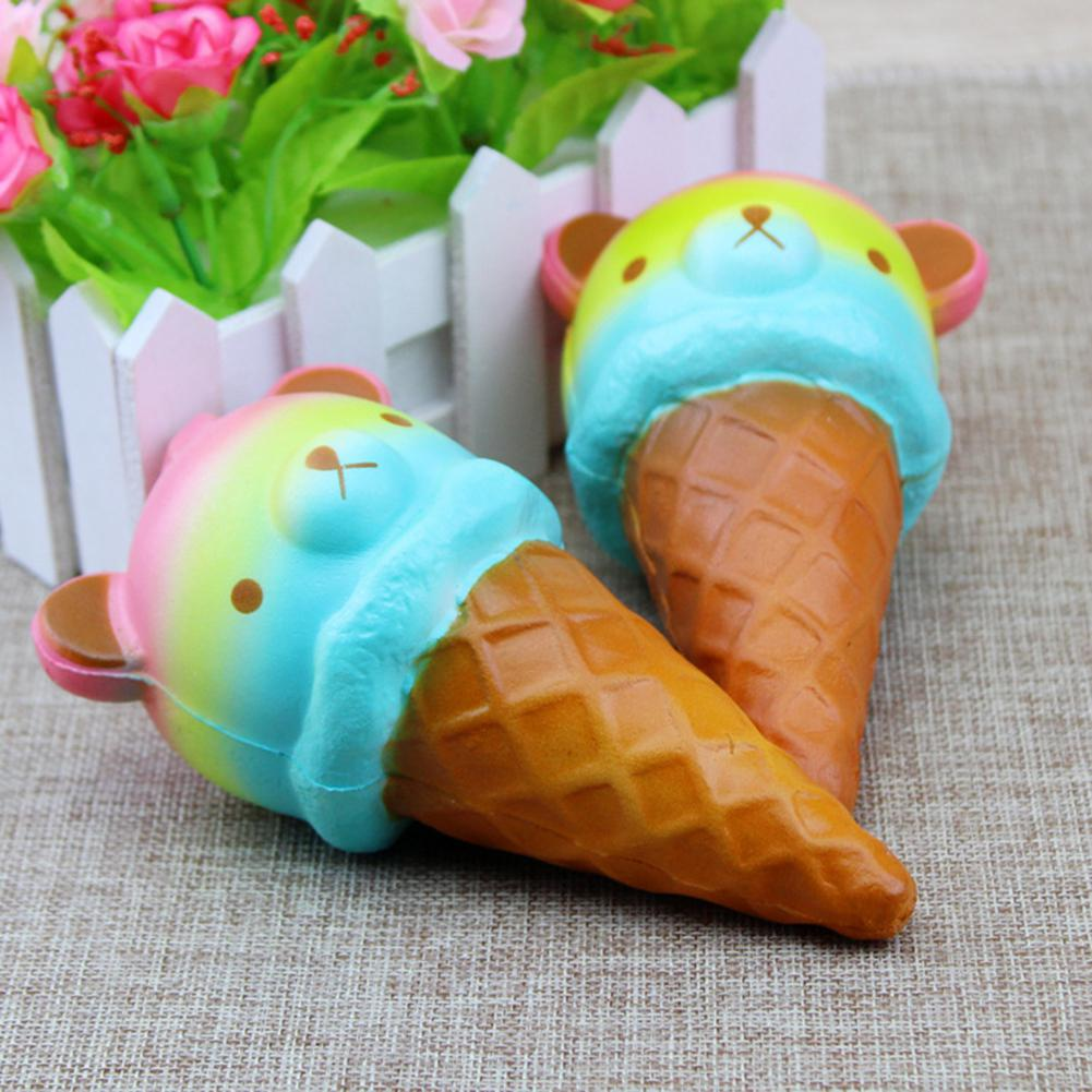 Novel Creative Halloween Present Slow Rising Squishy Toy Bear-Head Ice Cream Squeeze Kid's Toy Birthday Christmas Gift Stress Relief Decoration