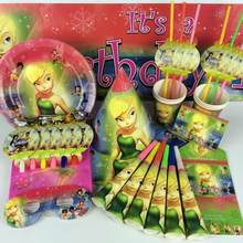 Omilut elf tinkerbell decoração 1th festa de aniversário guardanapos descartáveis/placas/copos/bonés flying elf fada tinkerbell bolo