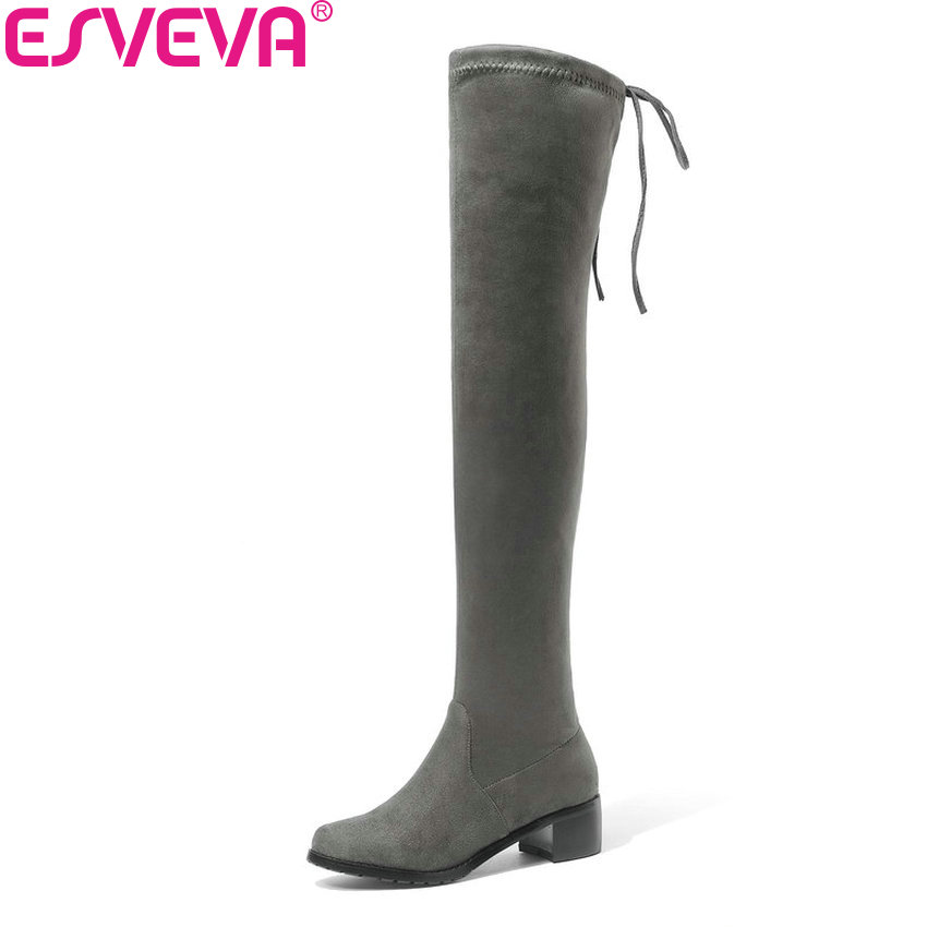 ESVEVA 2019 Women Boots Shoes Lace Up Sexy Boots Over The Knee Boots Shoes Med Heels Fashion Square Toe Winter Boots Size 34-43
