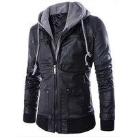 Мужская куртка из искусственной кожи, Повседневная тонкая куртка из двух частей, Мужская мотоциклетная куртка, пальто из искусственной кож...