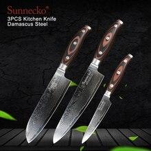 SUNNECKO 3 шт. Кухня Ножи набор шеф-повар Santoku ножи дамаск японский VG10 Сталь лезвие ножи для резки мяса деревянной ручкой