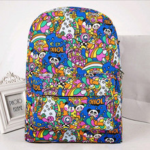20Style Canvas Graffiti Cartoon Women Bag Backpack Graffiti Printing Student Bag Backpacks Woman Women Harajuku Travel Back Bag