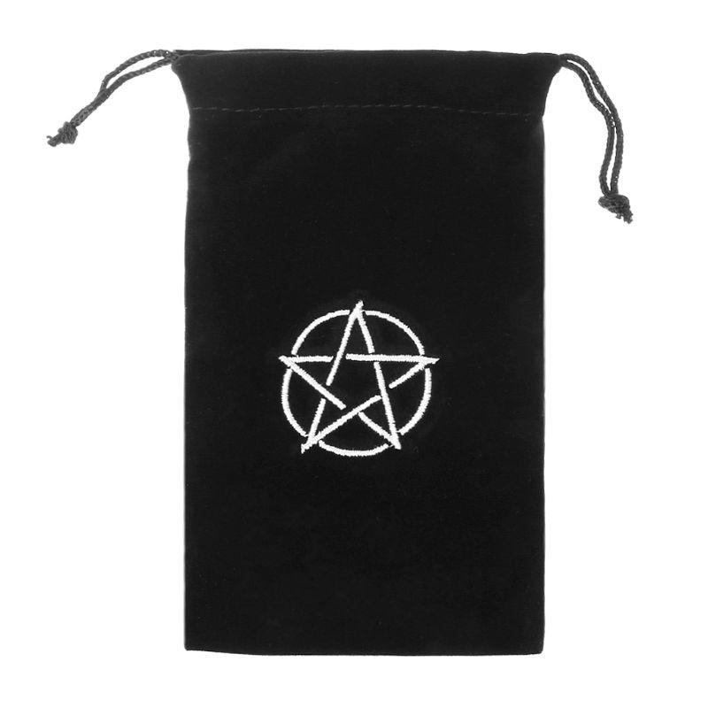 1pc Velvet Pentagram Tarot Storage Bag Board Playing Card Embroidery Drawstring Package 17.5cm W20