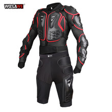 WOSAWE Motorcycle Jacket Armor Protective Gear Motocross Racing Body Armor Jacket+Short Pants Chest Back Protector and hip Pad
