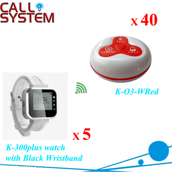 Made in china Wireless service paging system wrist watch monitor 5pcs + Table buzzer 40pcs CE Passed wireless service call bell system popular in restaurant ce passed 433 92mhz full equipment watch pager 1 watch 7 call button