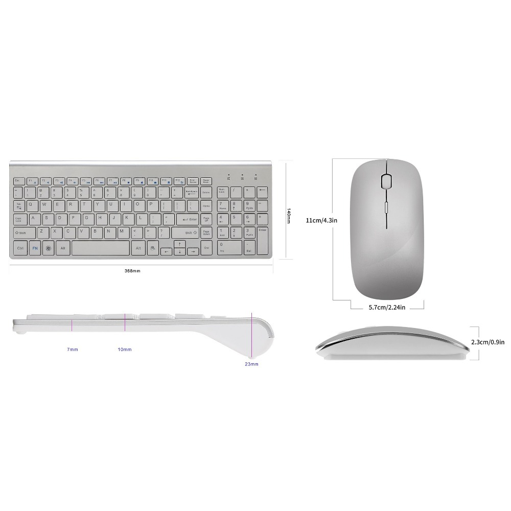 Image 2 - Ultra Thin Business Wireless Keyboard and Mouse Combo 102 Keys Low Noise Wireless Keyboard Mouse for Mac Pc Win XP/7/10 Tv Box-in Keyboard Mouse Combos from Computer & Office