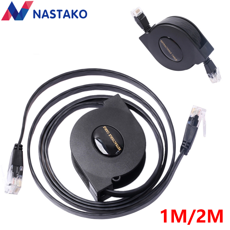 NASTAKO 1 mt 2 mt 8Pin RJ45 Cat6 Kabel 1000 Mbps Gigabit Versenkbare RJ45 Katze 6 Ethernet Netzwerk Kabel Ethernet kabel Schwarz
