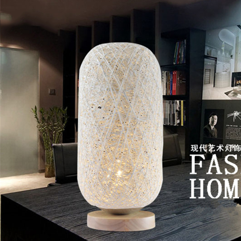 Fashion Table Lamp Modern Rattan Line Wood Eyeshield Desk Lamp For Home Bedroom Living Room Decoration Bedside Lamp fashion floral rattan butterflies pattern bedroom decoration wall stickers