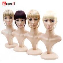 AOSIWIG Short Synthetic Bangs Heat Resistant Hairpieces Hair Women Natural Short Fake Hair Bangs