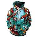 Hot 2016 Autumn Fashion Women Men Hoodies Cartoon Wolf demon 3D Digital Printing Sweatshirt Loose casual Hooded Hoody sudaderas