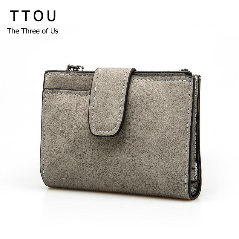 TTOU Female Small Standard Wallet Solid Simple PU Leather Women Short Wallets Hasp Vintage Lady Girls Coins Purse Card Holder 2016 new pu leather hasp ladies wallet female small short purse for women for coins credit card holder dollar price carteira