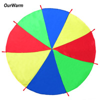 OurWarm 아이 게임 플레이 낙하산 2 메터 무지개 우산 재미 점프 자루 Ballute 야외 장난감 어린이 생일 파티 용품