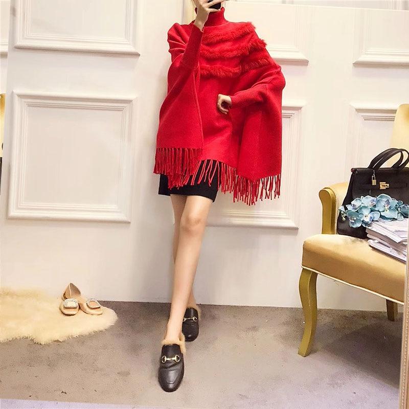 Женская накидка из натурального кроличьего меха, пуловер, пальто, Новое поступление, модная Осенняя женская накидка с высоким воротником, рукав «летучая мышь», пончо с кисточками, свитер, пальто - Цвет: Красный