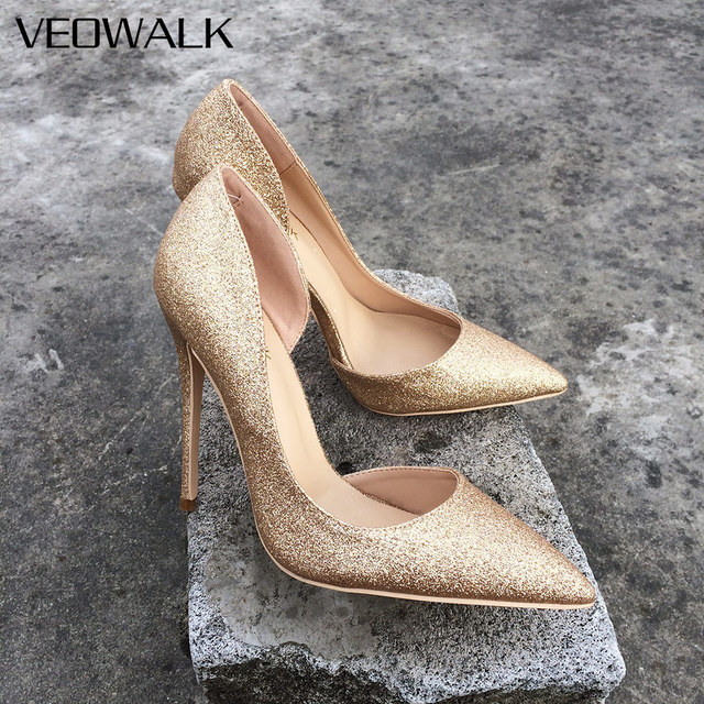 c44c11e28d US $34.08 49% OFF|Veowalk Women Bling Sexy Pointed Toe Stilettos Pumps  Elegant Lady Party High Heels Wedding Bride Bridal Shoes Customized  Accept-in ...