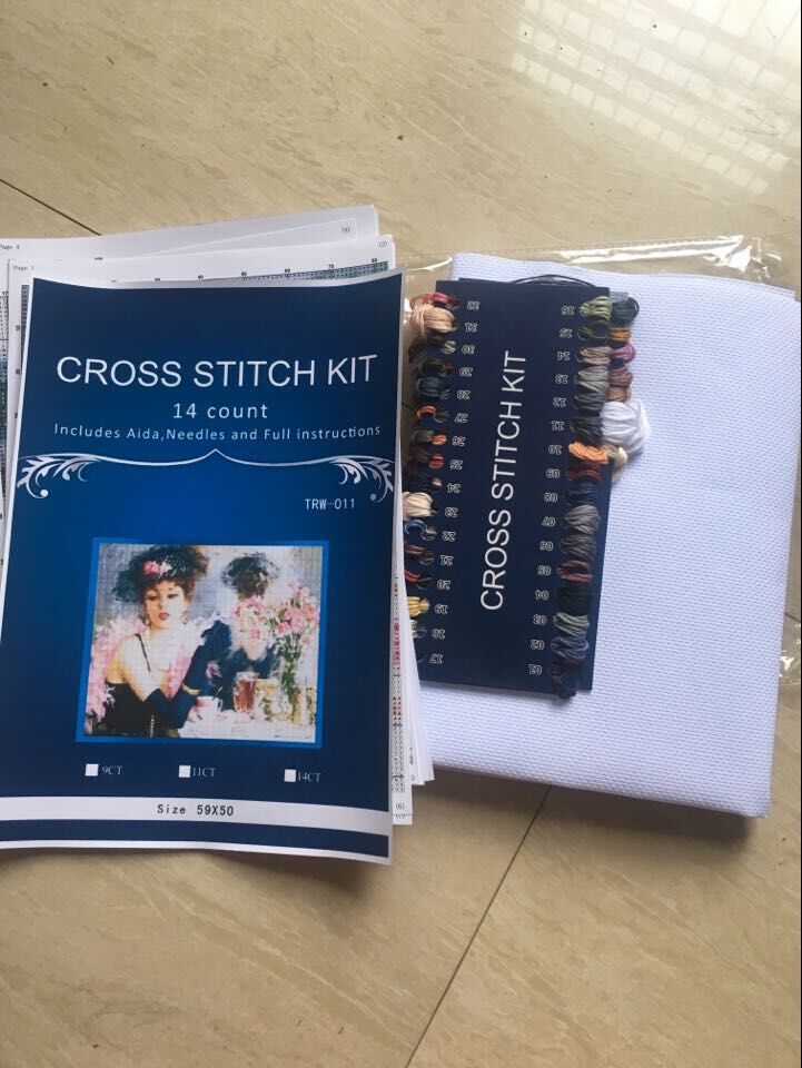 people Needlework DIY DMC 14CT unprinted Cross stitch Embroidery People style home arts Counted White canvas Cross Stitching 10 in Package from Home Garden