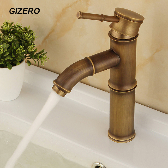 High Quality Solid Brass Antique Finish Bamboo Basin Faucet Deck Mounted Cold and Hot Bathroom Vessel
