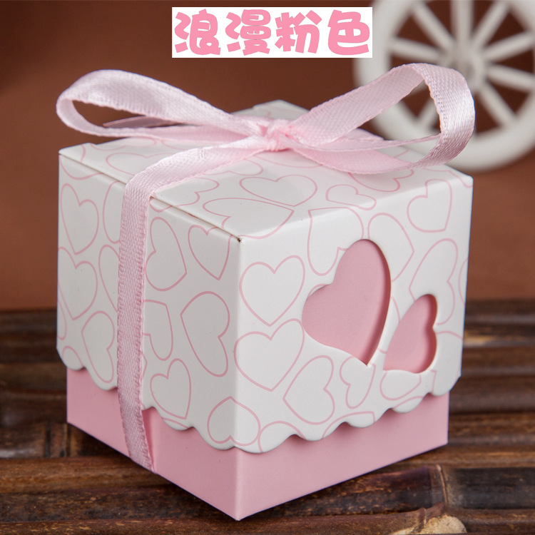 1000pcs Love Heart Purple Pink Small Laser Cut Gift Candy Boxes Wedding Party Favor Candy Bags