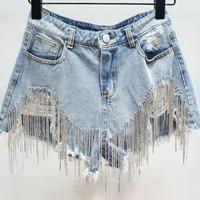 High Waist Women Fashion Loose 2019 Women's Short Summer Loose Denim Shorts Drill Tassel Hole Short Jeans H108