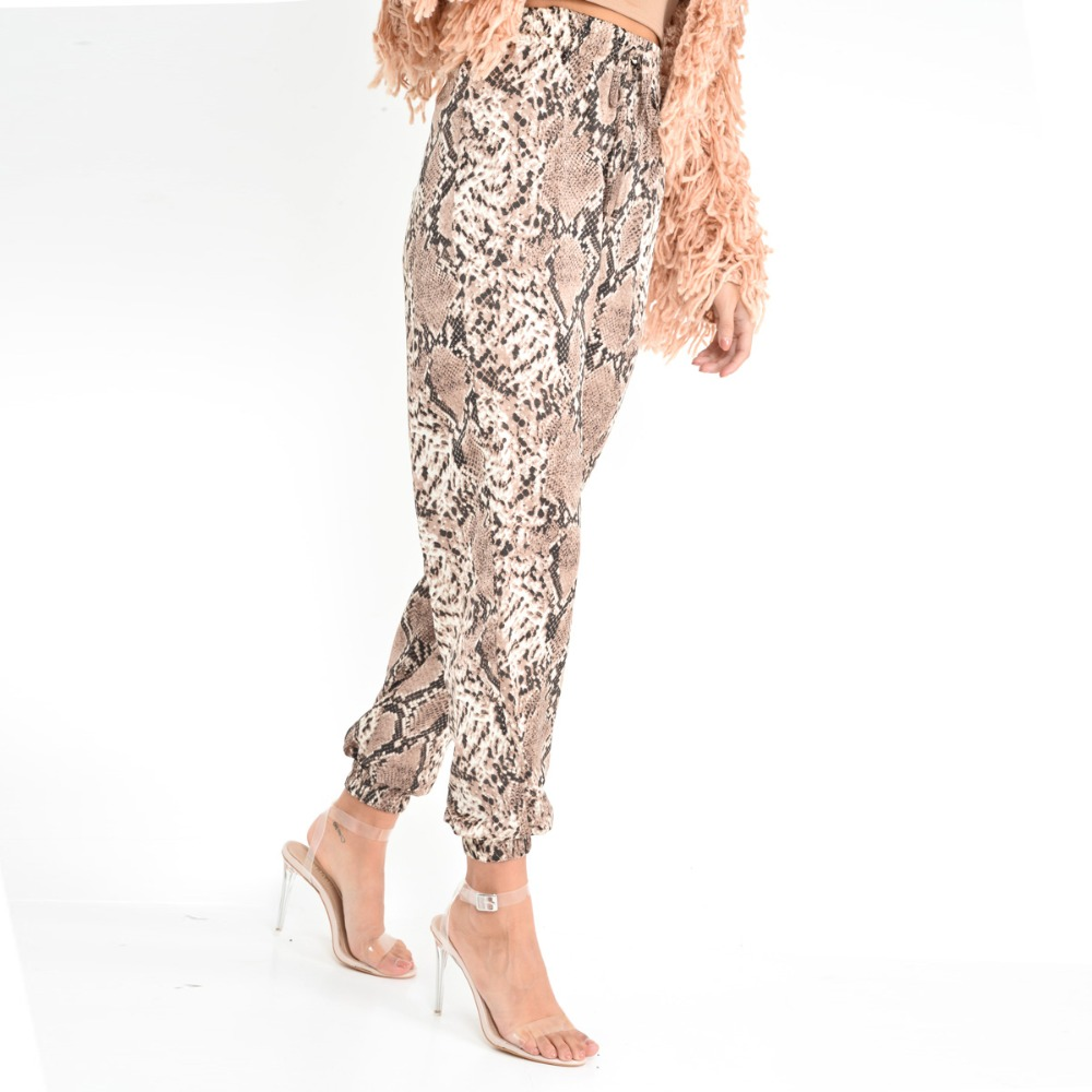 New Women Animal Pattern Trouser Casual Snake Skin Printed Harem Pants Elastic pleated female casual ankle length trousers 4
