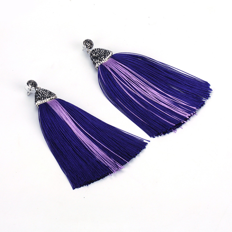 Boho Rhinestone Studs Charm Purple Lilac Indigo Layers Shaded Color Silk  Thread Extra Long Big Tassel Dangle Earring for Women-in Drop Earrings from  Jewelry ... 5d842525bfd3